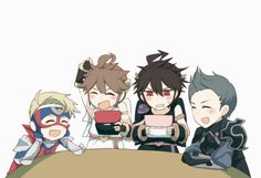 Kid Icarus x Fire Emblem - Pit, Dark Pit, Cyrus, and Lutz <-- This is so cute because they are the same voice actors! Thought we wouldn't notice? We did.