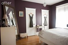 I think I'm in love with the color of this eggplant bedroom.