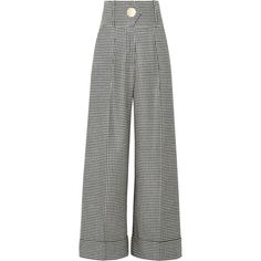 Petar Petrov Houndstooth wool wide-leg pants ($735) ❤ liked on Polyvore featuring pants, jeans, black, tailored trousers, wide leg trousers, wide leg pants, woolen pants and oversized pants