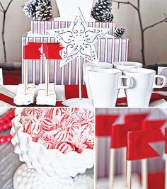 {Rustic + Modern} Cardinal Red & Birch Bark Holiday Dessert Table
