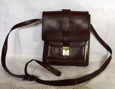 Vintage leather man bag satchel from France by MaisonMaudie, $22.00