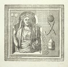 Allegorical figure of a woman holding fruit, pipe at right?] From New York Public Library Digital Collections.