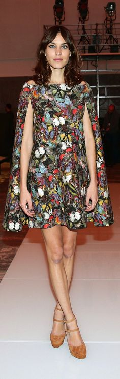 Alexa Chung in a Valentino Butterfly Cape Dress