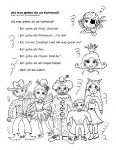 was gehst du an KarnevalAls was gehst du an Karneval Martini, Poems, How To Plan, Education, Comics, Kids, Lesson Planning, Logo, Carnival
