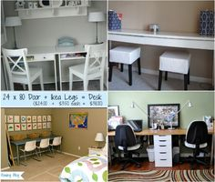 BUDGET DIY STUDY SPACES FOR MULTIPLE KIDS Most families face the challenge of providing study spaces for multiple children at the same time. Whether you homeschool or need a space for homework hour, these budget study space ideas are sure to inspire. Long narrow desks, butcher block countertop, or two small desks side-by-side, can be used to create a workspace up against a wall. I love the idea of using an old door and attaching legs to create a desk area for little ones to work.
