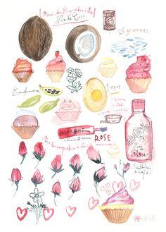 Pink cupcakes, original watercolor painting, kitchen art, food illustration, coconut cupcake, rose, illustrated recipe. $70.00, via Etsy.