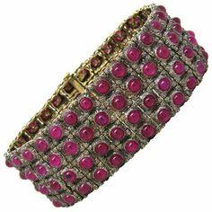 Mario Buccellati Gold Silver Ruby Cabochon Bracelet