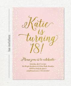 Pink gold glitter 18th birthday invitation for girl, modern teen birthday party…