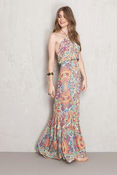 vestido longo estampado geneve | Dress to