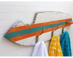 Surfboard Towel Hook Shark Bite Wooden Beach House
