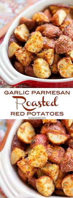 Garlic Parmesan Roasted Red Potatoes - red potatoes tossed in garlic onion paprika Italian seasoning and parmesan cheese - SO delicious! A super quick and easy side dish. Ready for the oven in minutes! Great with burgers chicken steak and pork. Red Potato Recipes, Potato Dishes, Food Dishes, Recipes With Red Potatoes, Potato Recipes For Dinner, Potato Recipe With Steak, Steak Recipes In Oven Dinners, Side Dishes With Potatoes, Recipes With Steak