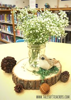 Woodland Baby Shower, Baby Shower Ideas, Woodland theme, forest baby shower, forest animals, mason jars, centerpiece, babys breath, floral, pine cones