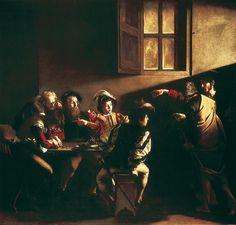 Le Caravage, <i>la Vocation de saint Matthieu</i>Le Caravage, la Vocation de saint Matthieu La Vocation de saint Matthieu. Peinture à l'huile (1598) du Caravage. (Église Saint-Louis-des-Français, Rome.)  En savoir plus sur http://www.larousse.fr/encyclopedie/images/Le_Caravage_la_Vocation_de_saint_Matthieu/1312238#xTO023pJ53bIq3ki.99
