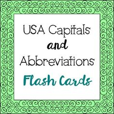 USA Capitals and Abbreviations Flash Cards