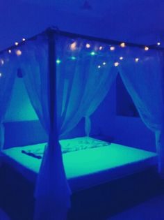4poster bed# fairylights#surreal#dreamy