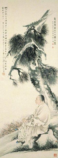 Ren Yi (1840-1895) et Hu Yuan (1823-1886),Portrait de Gao Yong.Encre et couleurs sur papier – vers 1877.H. 130,9cm – L. 48,5cm© Musée de Shanghai