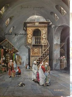 Ylaruam [An enclosed marketplace (sooq) in Istanbul. Looks some period of the Ottoman era. Moroccan Art, Turkish Art, Victorian Paintings, Arabian Art, Islamic Paintings, Buch Design, Historical Art, Egyptian Art, Beautiful Paintings