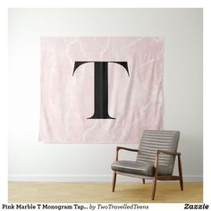 Pink Marble T Monogram Tapestry Christmas Card Holders, Christmas Cards, Marble Tapestry, Pink Marble, Bed Spreads, Vivid Colors, Hand Sewing, Picnic Blanket, Accent Chairs