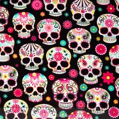Day of the Dead - Sugar Skulls Yardage - Timeless Treasures - Timeless Treasures
