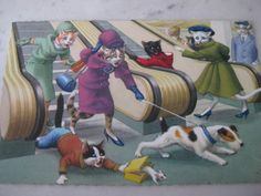 Vintage Alfred Mainzer Cats Shopping Postcard by VintageByThePound, $9.50