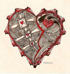 Zentangle inspired honey's heart by Carolyn Boettner Tangle Doodle, Tangle Art, Doodles Zentangles, Zen Doodle, Doodle Art, Doodle Patterns, Zentangle Patterns, Heart Doodle, Doodle Inspiration