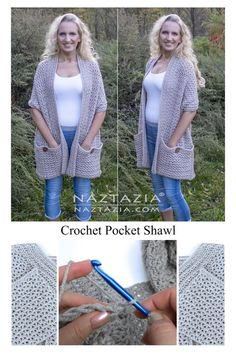 Gilet Crochet, Knit Crochet, Crochet Stitch, Easy Crochet Shawl, Purl Stitch, Crochet Shawls And Wraps, Crochet Scarves, Scarves & Shawls, Diy Crochet Clothes