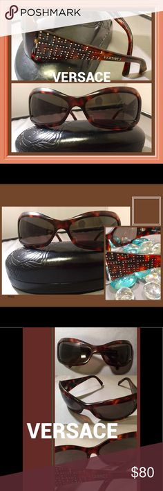 Versace 4068-B Tortoise Shell Polarized Sunnies Classy, Polarized 100% authentic VERSACE Tortoise Shell, brown, wrap sunglasses. They are preowned in very good condition. These made in Italy Sunglasses have a small amount of scratching on the lenses. Vision is not impaired. The lenses are gray, Polarized and 100% UVA protected. The frames are in very good condition some minor scratching on frames. Seen only under close inspection.  They come with a Versace case. From smoke free home with…
