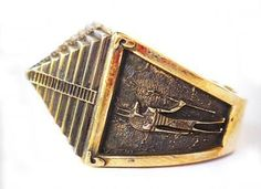 Brass Pyramid ring All Size Style Heavy Biker Harley Rocker Men's Jewelry (BR-10)