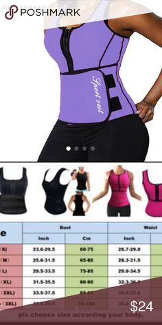 2XL PURPLE SAUNA VEST NEW PURPL BRAND NEW 2XL SCULPTING VEST Specifications: Zipper front design for easy on/off access. Adjustable waistband with velcro closure. Increase abdominal heat and promote weight loss. Full coverage for the upper body, back fat, and tummy... great for women who desire to sweat more during your workout.  Type: Shapewear Garment Care: Hand Wash Material: Neoprene Features: Waist Trainer, Workout Vest, Corset, Body Shaper, Slimming, Tummy Control, Helps postpartum…