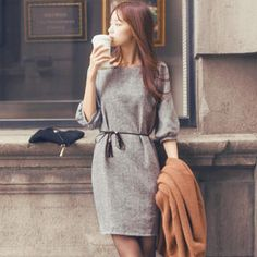 Puff-Sleeve Shift Dress with Cord from #YesStyle <3 Tokyo Fashion YesStyle.com.au