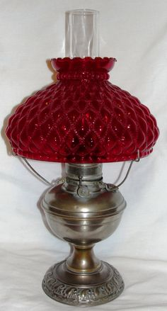 1920's Nickel Plate Kerosene Lamp w/Ruby Quilted Shade