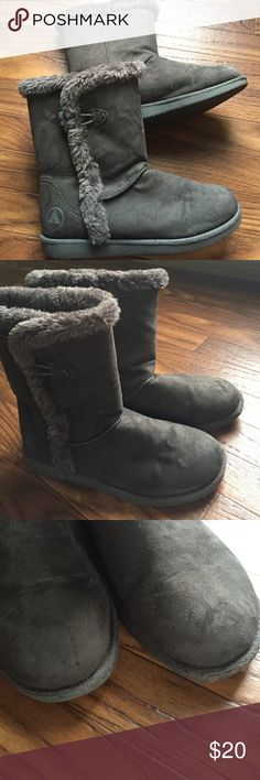 Airwalk Myra Gray Suede & Faux Fur Boots Gently used. Slight wear at toes. Gray suede in color. Mid calf short boots. Airwalk Shoes Ankle Boots & Booties