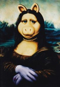 muppets as famous art. if teaching a particular art style, have students duplicate it but add their own original flare in order to see that they have grasped the concept of the motifs of the chosen style Mona Friends, La Madone, Mona Lisa Parody, Mona Lisa Smile, Hokusai, Miss Piggy, Famous Art, Italian Artist, Cultura Pop