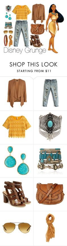 """Disney Grunge: Pocahontas"" by loveclassic ❤ liked on Polyvore featuring Disney, New Look, H&M, Kendra Scott, Samantha Wills, Warehouse, Michael Kors and Charlotte Russe"