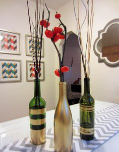 Rust-oleum sprayed wine bottles.