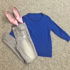J crew wool sweater 3/4 sleeve j crew wool sweater. Size large (runs small) . Only worn twice. Small hole at wasteband pictured above. ( pink shoes in separate listing) J. Crew Sweaters Crew & Scoop Necks