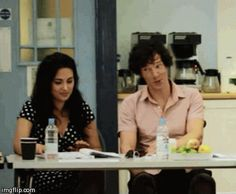Yasmine Akram (Janine) and Benedict Cumberbatch (Sherlock) at the Sign of Three Readthrough
