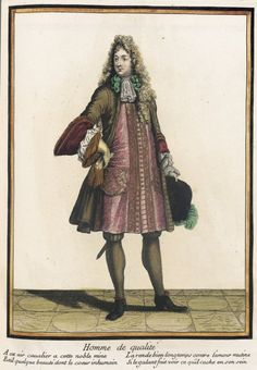 "1685 French Fashion plate ""Recueil des modes de la cour de France, 'Homme de Qualité'"" at the Los Angeles County Museum of Art, Los Angeles"