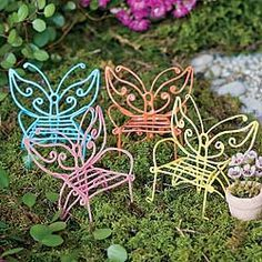 Wire Butterfly Chairs for the Fairy Garden Fairy Garden Furniture just keeps getting cuter and cuter!