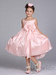Princess Spaghetti Satin Tea Length Flower Girl Dress