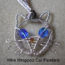 "Jewelie the Cat Wire Pendant at Sova-Enterprises.com Wire-wrap a cute cat pendant that is only 1"" across, so make two for a pair of earrings also!  Project Type: Wire Work Miscellaneous: Wire Wrapping Wire Used: 18 gauge, 26 gauge Approx Finished Size: 1"" Pages to Print: 4"