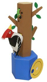 Automata Woodpecker Free Papercraft Download | PaperCraftSquare.com
