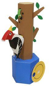 Automata Woodpecker Free Papercraft Download | PaperCraftSquare.com