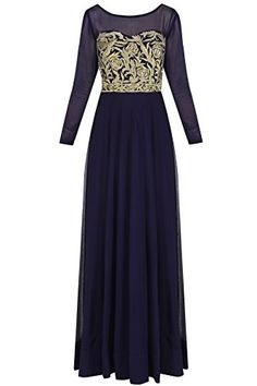Navy Blue Zari Embroidered Gown