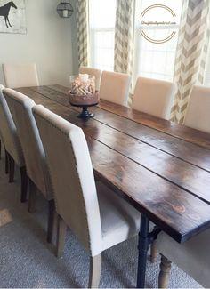 Industrial farmhouse table for 12