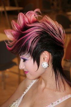 short spike hair with pink streaks