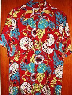 Vintage 1940s Atomic Bread Fruit Rayon Aloha Shirt by Watamull's