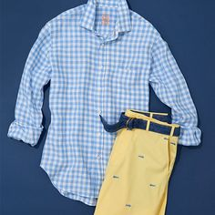 Dress dad in style. Checks that balance- this shirt adds color in just the right dosage. An antidote to the stack of quieter options currently in your closet. Summer Outfits Men, Preppy Outfits, Preppy Style, Summer Clothes, Preppy Boys, Style Men, Mens Essentials, Summer Essentials, Preppy Handbook