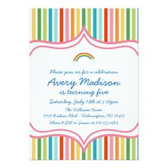 Shop Rainbow Large wide STripe Modern Birthday Invite created by partyondesigns. Personalize it with photos & text or purchase as is! Rainbow Invitations, 1st Birthday Party Invitations, 2nd Birthday Parties, Chevron Birthday, Rainbow Birthday, Invitation Design, Custom Invitations, Invites, Wedding Invitations