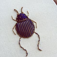 Mazarine (n.) a deep, rich, shade of blue . . . A Goldwork beetle I completed yesterday for a customer who wanted to gift it to his wife. I've added a few more buggers to the etsy store too . Goodnight from my corner of the world  #TheOldeSewingRoom
